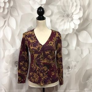 Carole Little Floral Long Sleeve Wool Cardigan M